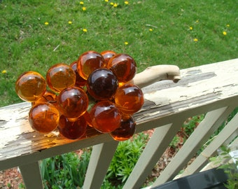 Vintage Mid Century Modern Translucent Amber Lucite Acrylic Glass Grapes Cluster And Vine Sculpture Retro 1960's