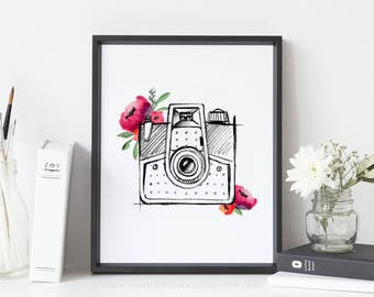 Watercolor Floral Vintage Camera Printable Wall Art Vintage Camera Sketch Print Camera Print Photography Office Decor Floral Camera Print