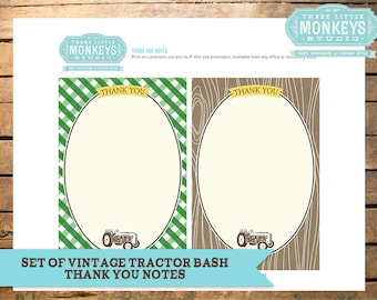 Vintage Tractor Bash Thank You Notes - Instant Download