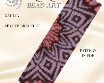 Pattern, peyote bracelet - Dahlia flower peyote bracelet pattern in PDF instant download