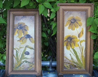 Pair of Floral Still Life Oil Painting on Board Framed Signed Kay Lockwood Flowers Autumn Splendor Thick Paint Impasto
