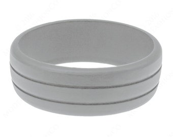Light Gray Grooved Rubber Silicone Wedding Ring Band Best Quality Flexible Hypoallergenic Cool Modern Athletic Mans Active Wear Ring Jewelry