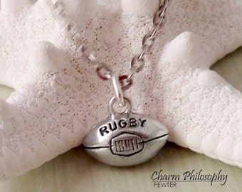 Rugby Ball Necklace - Antique Silver Pewter Jewelry - Silver Rugby Charm
