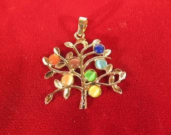 "1pc ""rainbow tree"" pendant in gold style (BC1387)"