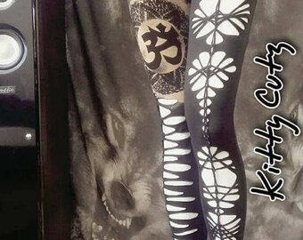 cut out leggings with mandala and om