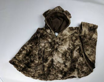 Size 6 teddy bear fleece car seat poncho - ready to ship - winter children's poncho -coat - 4-6 years