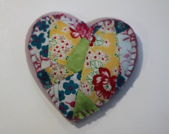 Crazy Patchwork Heart Magnet with Pink Edging