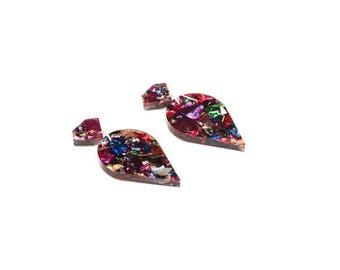 Glitter drop earrings Hypoallergenic earrings chunky glitter earrings laser cut jewellery best friend's birthday gift ideas for her wife