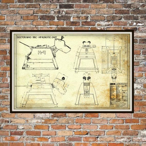 Dr Who K-9 K9 Robotic Unit Print Poster Dr Who Blueprint