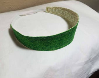 St. Patrick's Day! Green-Cream Celtic Designed Reversible Cloth Headband