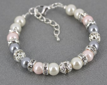 Gray and Pink Bracelet Pink Pearl Bracelet Bridesmaid Gift Pearl Bracelet Bridesmaids Bracelet Wedding Jewelry Pink and Grey Bracelet