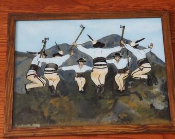"Polish handicraft (reverse glass painting) ""Tońcyli zbójnicy""  - ""Highlander dance"""