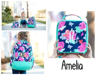 Girls Personalized Backpack, Girls Lunchbox, Back To School, Bookbag and Lunch box, Personalized Monogrammed, AMELIA
