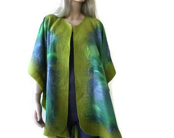 Prague-pistachio green Nuno Felt and silk Poncho ,ruana ,wrap- Amazing opera top in my beloved Kimono style-Only one available