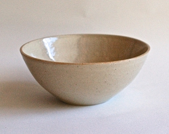 Ceramic bowl buff stoneware with clear glaze