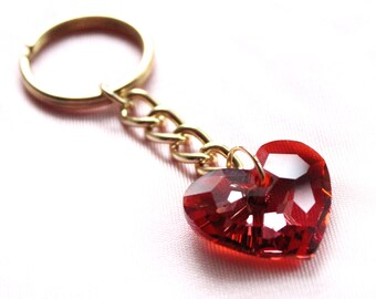 Crystal Heart Keychain in Red Magma