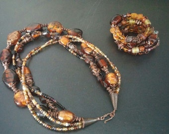 Amber Statement Necklace, Multi-Strand Amber Statement Necklace