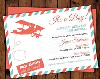 Vintage Airplane Invitation, Travel Invitation, Airplane Shower Invitation, Airmail Invitation, Travel Themed Baby Shower Invites