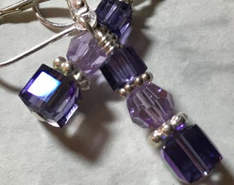 Purple Swarovski crystal earrings