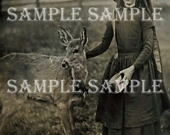 Instant Digital Download Scan Vintage Antique Rare photograph Girl with baby deer Animal Photograph