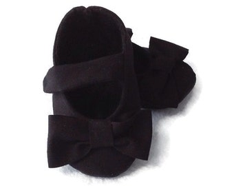 Black Baby Girl Shoes with Bows | Newborn up to 24 Months