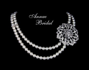 "Bridal necklace, rhinestone and pearl necklace, wedding jewelry, Swarovski pearl, ""Opulence"" necklace"