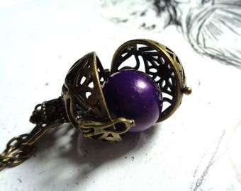 Bronze tone locket necklace harmony bola angel caller Llamadores de Angeles purple harmony ball pregnancy