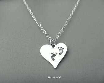 Baby Footprints Necklace - Sterling Silver Mom Necklace - Mothers day Gift