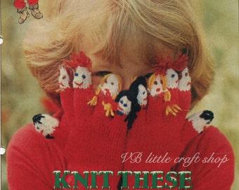 Children's puppets gloves knitting pattern. Instant PDF download!