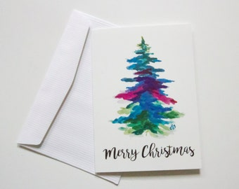 Blank Holiday Cards - Colourful Watercolour Merry Christmas Tree - Art by Breanna Deis Gifts for Her Him Mom Family