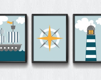 Nursery printable, Nautical set, nursery decor, lighthouse, boys room, boys nursery, blue nursery, nautical theme, modern nursery