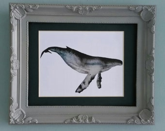Humpback whale watercolour art print A5