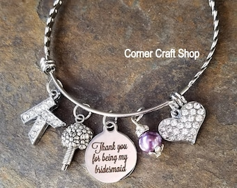 Thank You For Being My Bridesmaid Stainless Steel Personalized Bangle Bracelet Rhinestone Initial heart Wedding Color Heart Bouquet charms