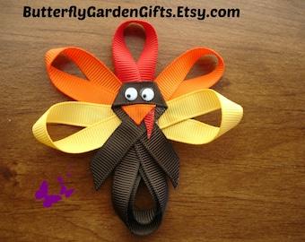 Turkey hair clip, Turkey ribbon sculpture, Thanksgiving bow, Turkey pin