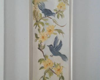 Vintage Long & Narrow Yellow Floral Oil Painting, Blue Bird, Cottage Wall Art, Nature, Art