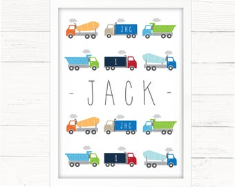 Boys Room Decor Personalised Trucks Print. Nursery Decor, Room Wall Art, Construction, Toddler, Lorries, Transport Theme.