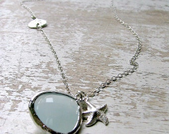 Sand Dollar Necklace with starfish Alice Blue Gemstone Necklace 925 Sterling Silver Starfish Necklace Beach Wedding Beach necklace bridal
