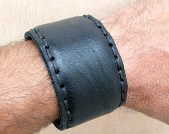 HARD LEATHER CUFF men women steel core hand-stitched! Canapart