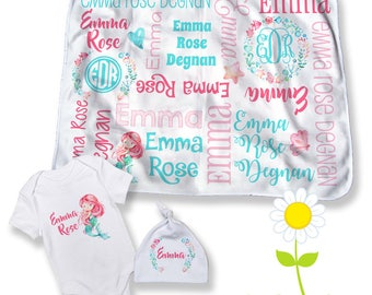 Mermaid Personalized Baby Blanket - Optional Bodysuit & Hat - Custom Name Mermaid Swaddle - Baby Shower Gift - Newborn Coming Home Outfit