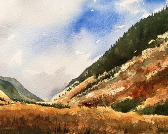 """Watercolour painting // Summer Golds // 10.25x6.75"""""""