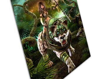 Lady Warrior Hunting with saber tooth tiger fantasy Animal Ready to Hang X1800