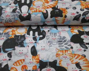 cotton fabric with cat motif, cotton fabric cat