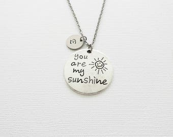 You Are My Sunshine Necklace, Daughter, Child Gift, Friendship Gift, Silver Necklace, Personalized Monogram, Hand Stamped Letter Initial