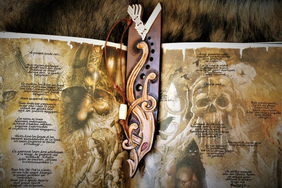 Vikings serie inspired carved leather bookmark