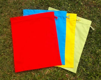 Cotton drawstring bags, set of 4 medium size, primary colours, for preschool, kindergarten, storage