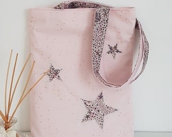 Cotton tote bag or tote bag, pink and plum and Liberty patterns star with name
