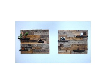 wooden wall art, wall mounted shelf, rustic shelf, home decor, solid wooden shelf, wooden wall art x2