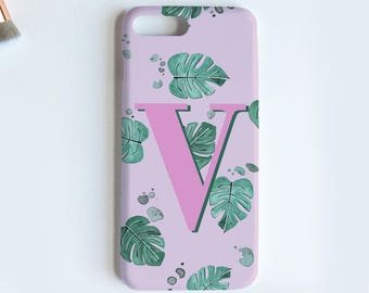 Tropical leaf alphabet phone case - iPhone 8 PLUS case, iphone 7 plus case, tropical phone case, iphone X case, jungle print, Samsung S8