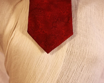 Cravat type neck scarf, leaf stamping, three colors: garnet, grey and gold