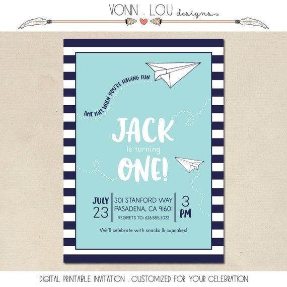 Airplane Birthday Invitation Diy Printable By Vindee On Etsy: Paper Airplane Invitation Paper Plane Inspired Party Hand